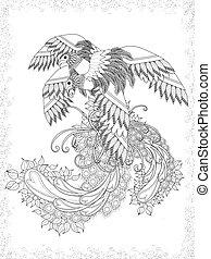 voksen, coloring, fugle, side