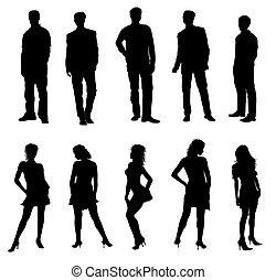 voksne, silhuetter, sort, hvid, unge