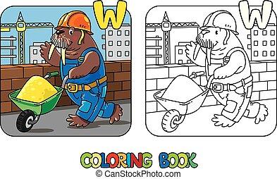 w, book., alfabet, alfabet., walrus, arbejder, coloring