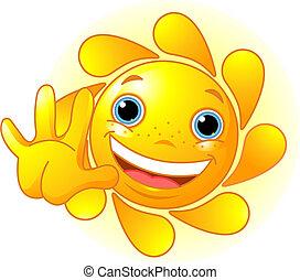 waiving, cute, hallo, sol