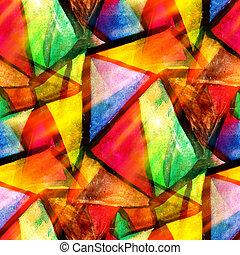 watercolor, trekant, farve, mønster, abstrakt, seamless, tekstur, vand, maling, gul, konstruktion, avis, baggrund, grønne, kunst, rød
