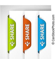 (web), etiketter, dele, /, udkant, stickers, side