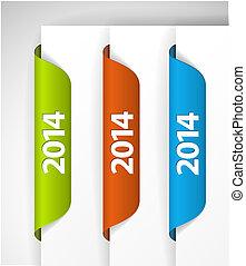 (web), etiketter, /, udkant, vektor, 2014, stickers, side