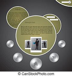website, boble, konstruktion, skabelon
