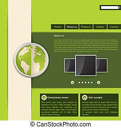 website, grønne, konstruktion, skabelon