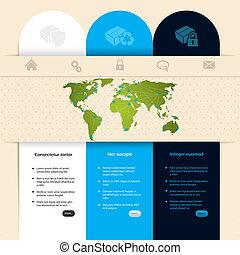 website, konstruktion, skabelon, etikette
