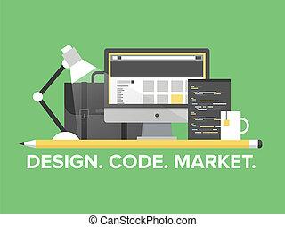 website, ledelse, programmering, illustration, lejlighed