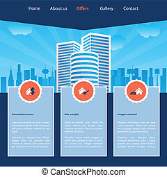 website, skabelon, cityscape, konstruktion