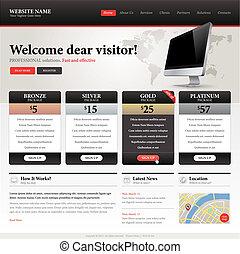 website, skabelon, konstruktion