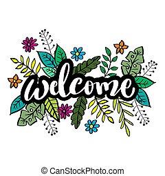 welcome., hånd, handwritten, tekstning, word., moderne, børste, typography.