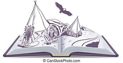 wigwam, indians, åbn, book., his