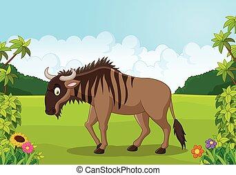 wildebeest, cartoon, dyr