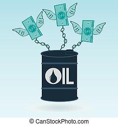 wings., olie, magt, pollution., chained, penge, oil., dollar, afhængighed, production., miljøbestemte, petrodollar., tønde, fortegnelserne