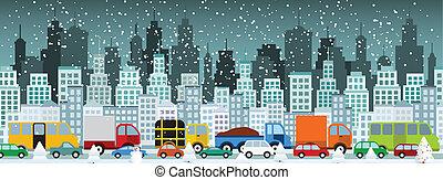 (winter), byen, syltetøj, trafik