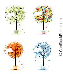 winter., kunst, forår, -, pots, træer, fire, konstruktion, efterår, årstider, din, sommer