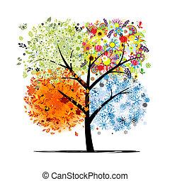 winter., smukke, kunst, forår, efterår, -, træ, fire, konstruktion, årstider, din, sommer