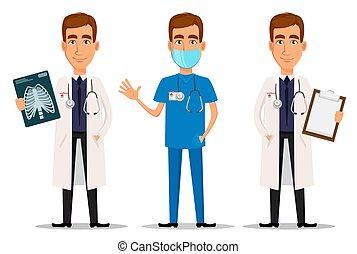 x-ray, professionel, vink, hånd, doktor, skud, sæt, clipboard, unge