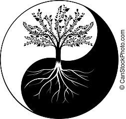 yang, træ, yin