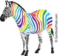 zebra., forskellige, strimler, colors.