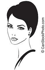 zeseed, kvinde, vektor, skønhed, ikon