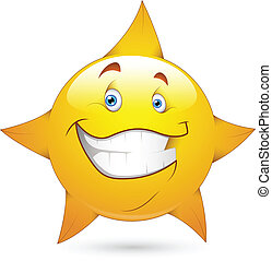 zeseed, vektor, stjerne, smiley, ikon